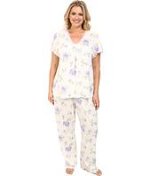 LAUREN Ralph Lauren - Plus Size Victorian Lawn S/S Long Pant PJ Set