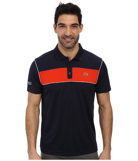 Lacoste sport pique ultra dry chest stripe polo navy blue for Lacoste stripe pique polo shirt