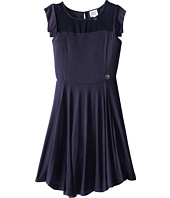 Armani Junior - Navy Jersey Dress w/ Shear Neckline Detail (Big Kids)