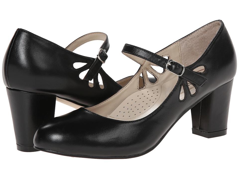Fitzwell - Mystic Black Napa Leather Womens Sandals $79.00 AT vintagedancer.com
