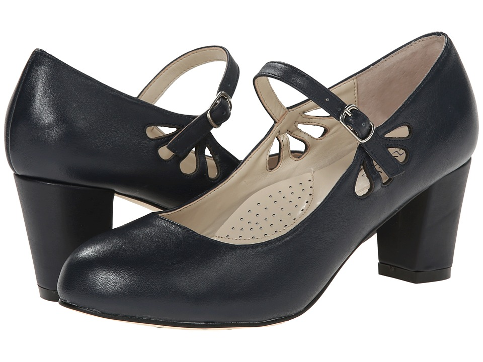 Fitzwell - Mystic Navy Napa Leather Womens Sandals $79.00 AT vintagedancer.com