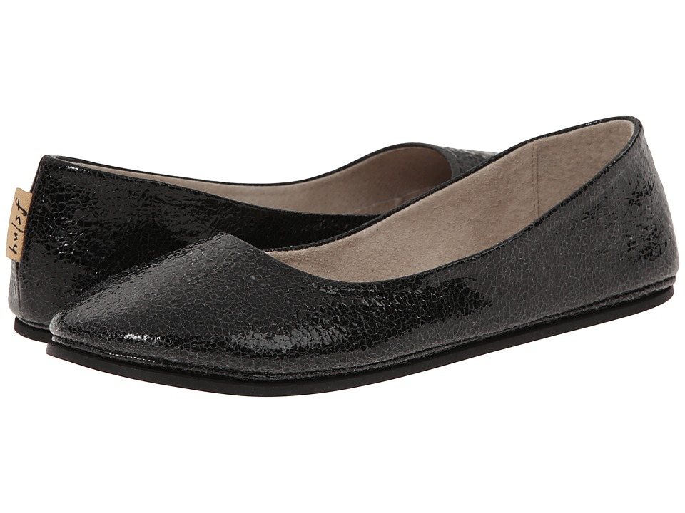 French Sole - Sloop Black Small Crackle Womens Flat Shoes $150.00 AT vintagedancer.com