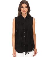 Blank NYC - Black Fringe Sleeveless Shirt