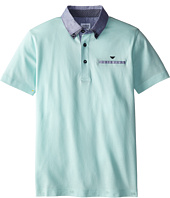 Armani Junior - Short Sleeve Mint Polo w/ Collar Pattern (Big Kids)
