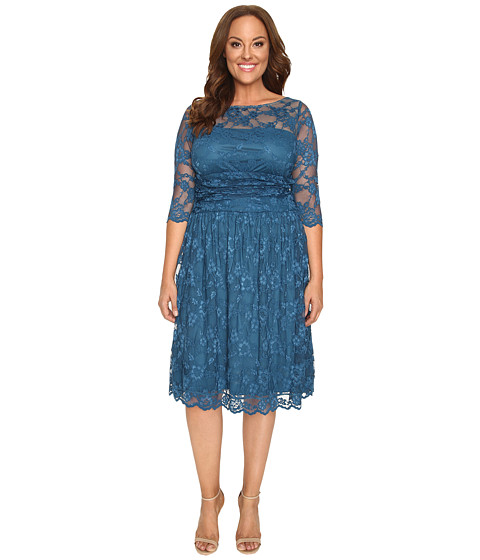 Kiyonna - Luna Lace Dress (Crazy About Blue) Women's Dress
