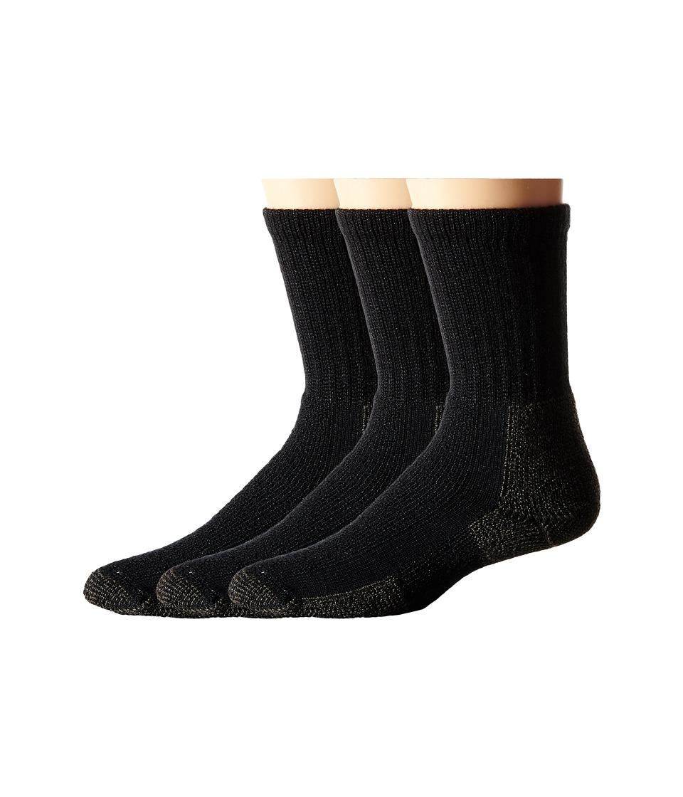 Thorlos Hiking Crew 3-Pair Pack (Black) Crew Cut Socks Shoes