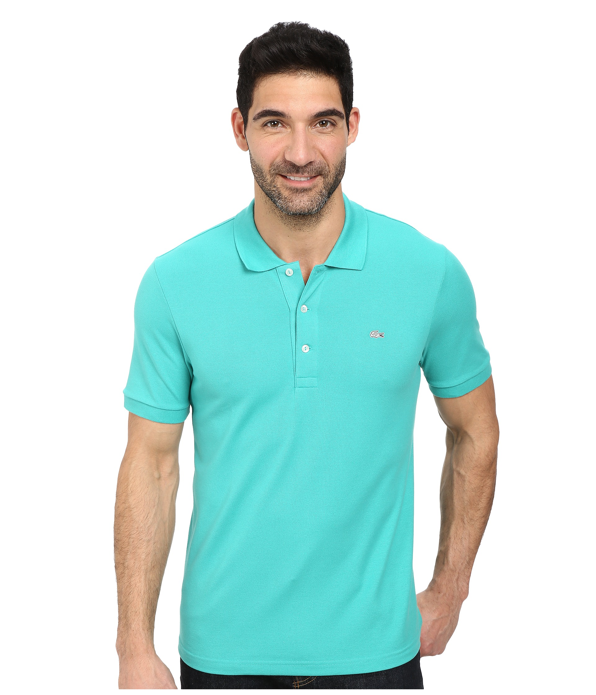 Lacoste premium short sleeve slim fit stretch pique polo for Short sleeve lacoste shirt