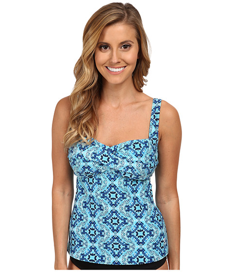 TYR - Diamond Valley Twisted Bra Tankini (Blue) Women's Swimwear