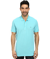 Lacoste - Cotton Pique Vintage Wash Polo with Chevron Rib