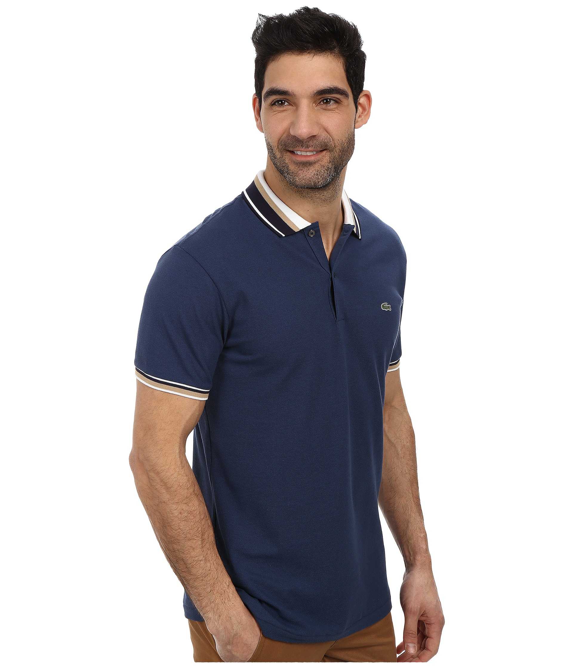 lacoste slim fit pique polo with neo piping. Black Bedroom Furniture Sets. Home Design Ideas
