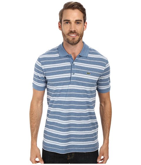 Lacoste cotton stretch pique jersey stripe polo for Lacoste stripe pique polo shirt
