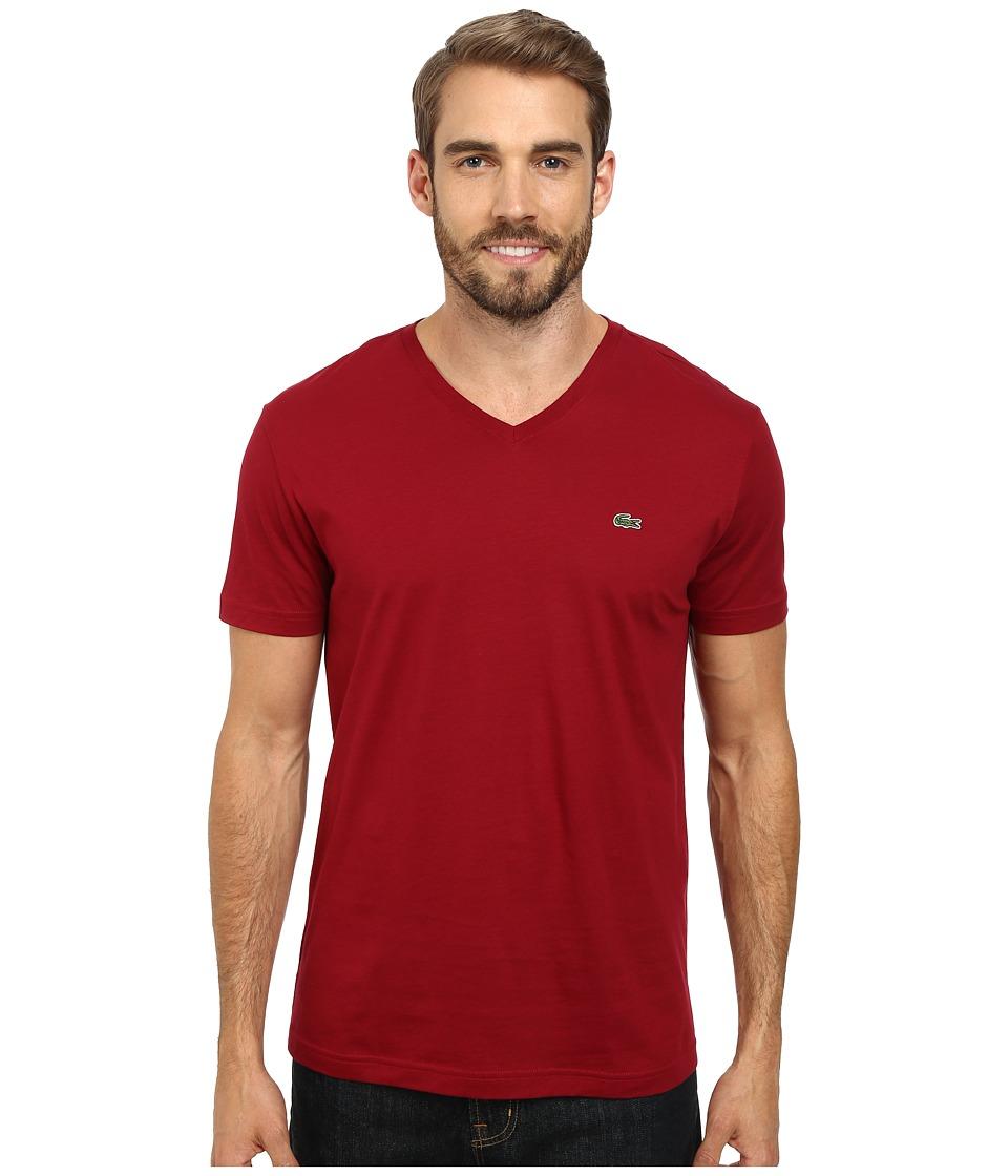 Lacoste - S/S Pima Jersey V-Neck T-Shirt (Bordeaux) Men