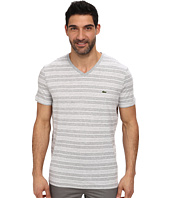 Lacoste - Jersey Short Sleeve V-Neck Striped Tee Shirt