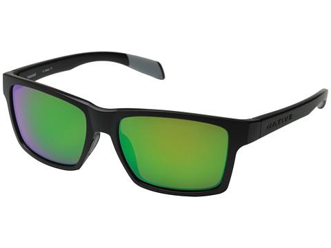 Native Eyewear Flatirons - Asphalt/Green Reflex