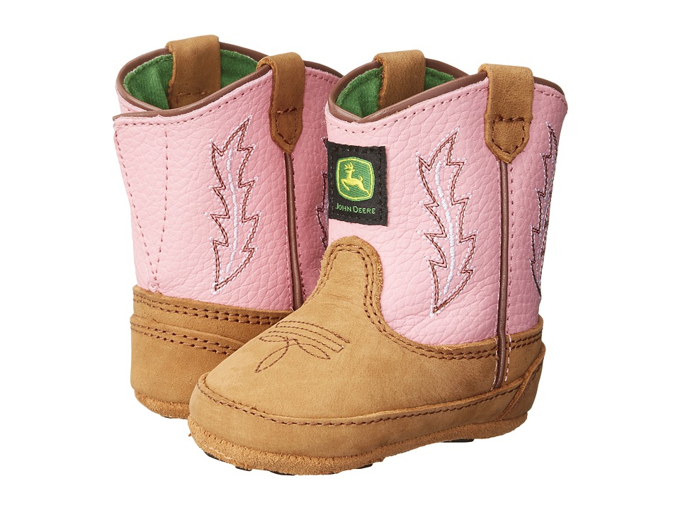 John Deere - Johnny Poppertm Crib (Infant/Toddler) (Tan/Pink) Cowboy Boots