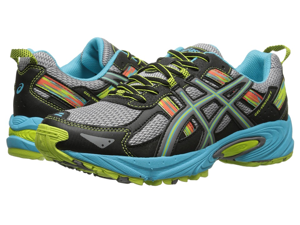 ASICS Kids - Gel-Venture 5 GS (Little Kid/Big Kid) (Silver Grey/Carbon/Lime) Girls Shoes