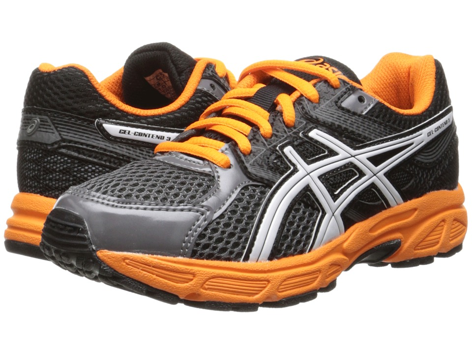 Image of ASICS Kids - Gel-Contend 3 GS (Little Kid/Big Kid) (Carbon/White/Orange) Boys Shoes