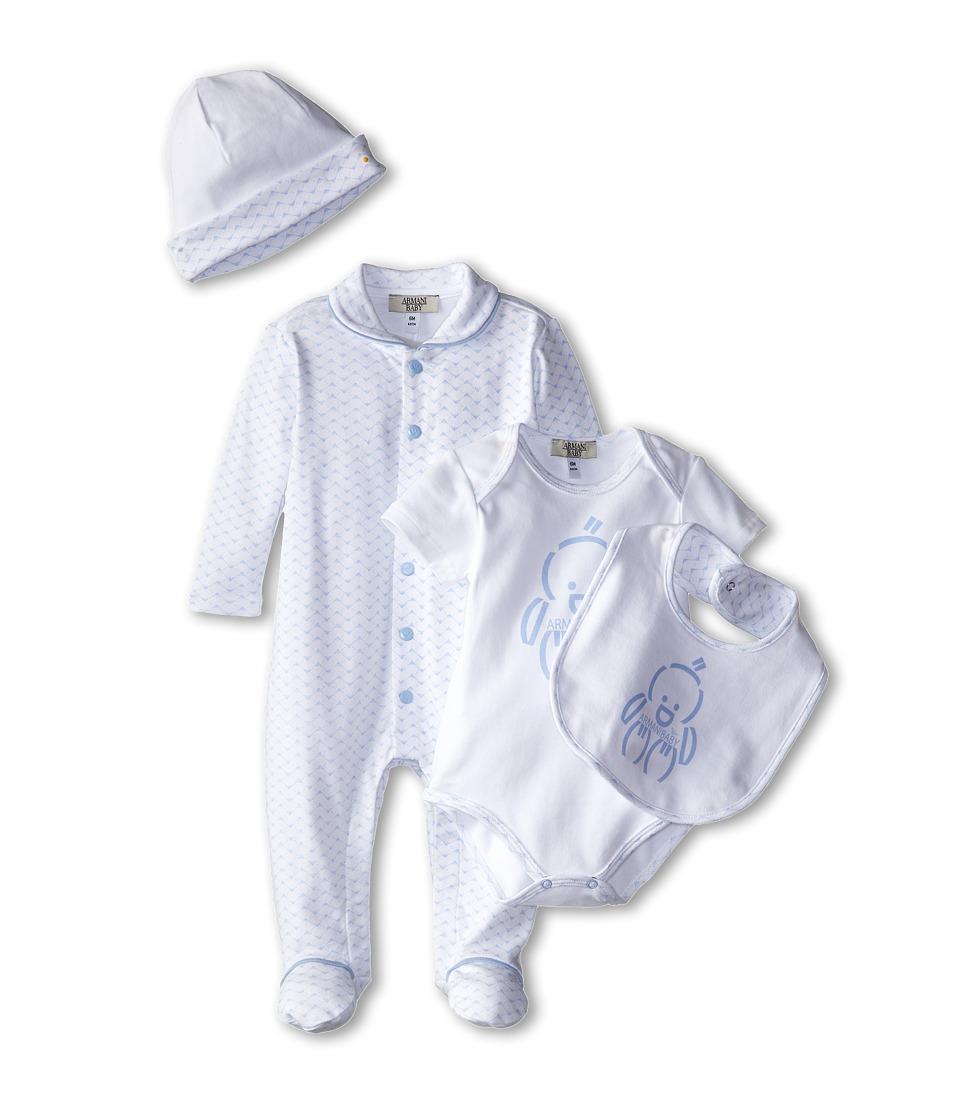 Armani Junior Five Piece Gift Set Body Suit Footie Big Hat Bag Infant Light Blue Bicolor Two Tone Boys Active Sets