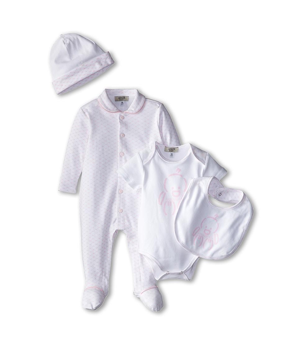 Armani Junior Five Piece Gift Set Body Suit Footie Big Hat Bag Infant Pink Bicolored Two Tone Boys Active Sets