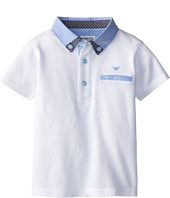 Armani Junior - Short Sleeve Polo w/ Light Blue Collar Detail (Toddler/Little Kids/Big Kids)