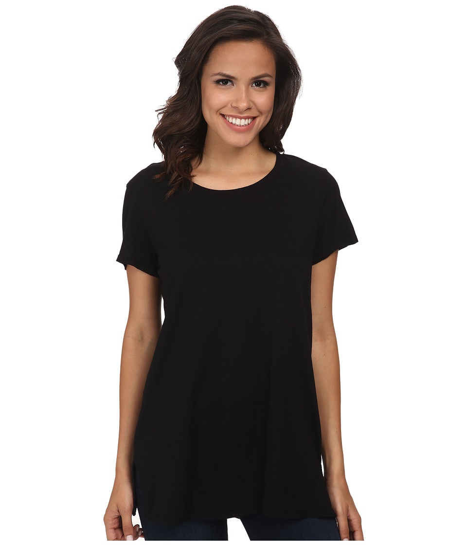 Michael Stars Dream Short Sleeve Crew Neck Long Tee (Black) Women