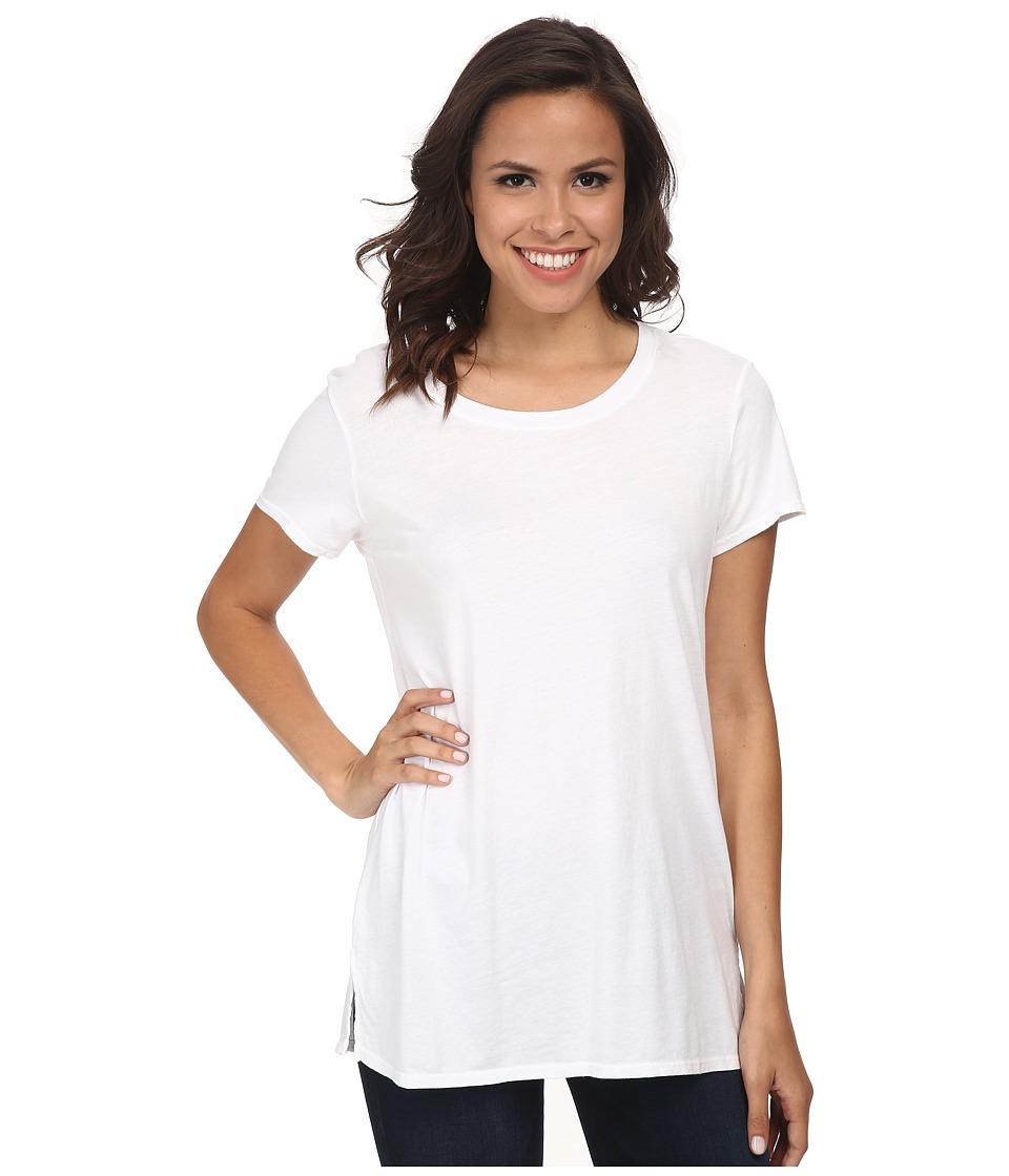 Michael Stars Dream Short Sleeve Crew Neck Long Tee White Womens T Shirt