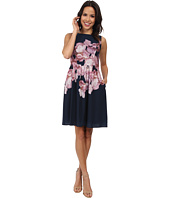 Adrianna Papell - Soft Gathered Skirt Placed Rose Print Dress