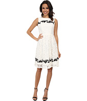 Adrianna Papell - Contrast Embriodered Applique Pleats