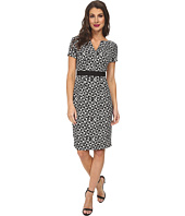 Adrianna Papell - Printed Split Neck and Hem Sheath Dress