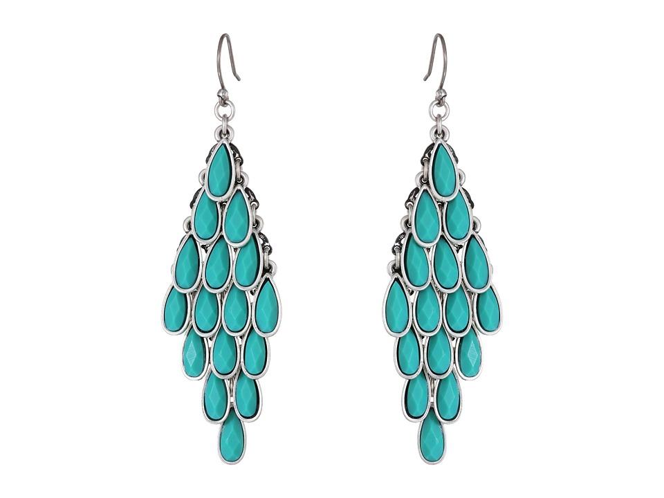 Lucky Brand Turquoise Multi Drop Earrings (Silver) Earring