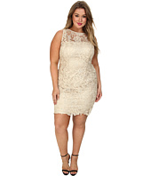 Adrianna Papell - Plus Size Illusion Neck Lace Dress