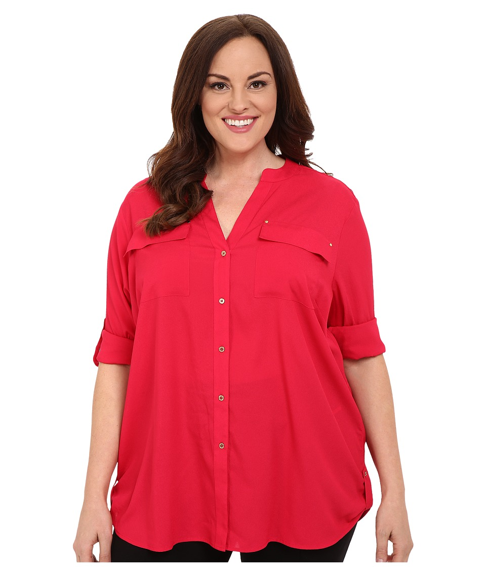 Calvin Klein Plus Plus Size Crew Neck Roll Sleeve Lipstick Pink Womens Blouse