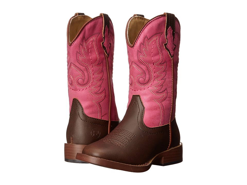 Roper Kids - Texson Faux Leather (Toddler/Little Kid) (Pink) Cowboy Boots