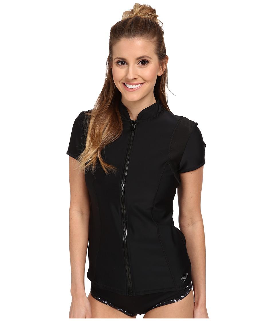 Speedo Compression Zip Front Rashguard (Black) Women's Swimwear