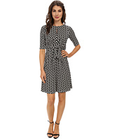 Maggy London - Bead Chain Printed Jersey Knot Front Sheath Dress