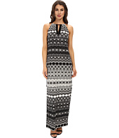 Maggy London - Brushed Geo Printed Matte Jersey Maxi Dress