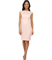 Maggy London - Lattice Rose Lace Sheath Dress w/ Cap Sleeve