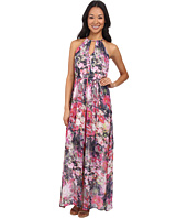 Maggy London - Flower Mix Printed Chiffon Maxi Dress