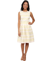 Maggy London - Jacquard Faille Stripe Fit & Flare Dress w/ Pearl Detail