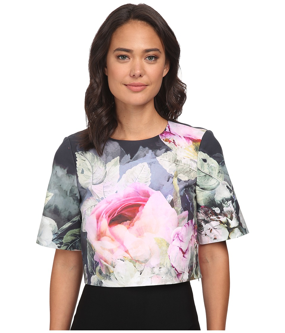 Ted Baker Dawin Pure Peony Ombre Crop Top Navy Womens Short Sleeve Pullover