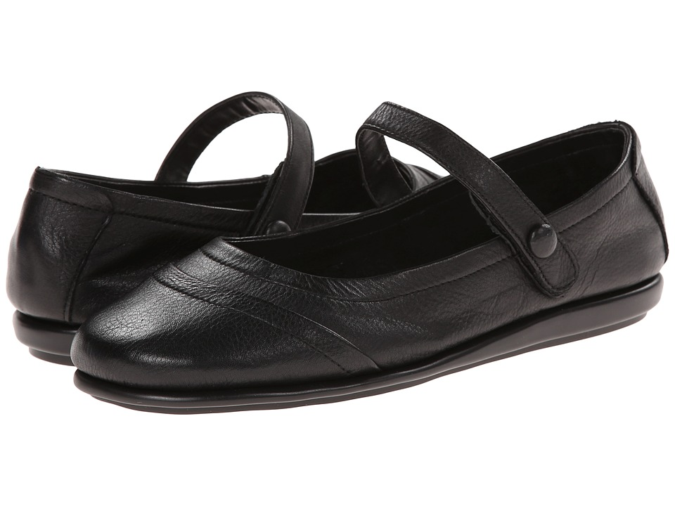 Aerosoles - Solar Eclipse Black Leather Womens Slip on  Shoes $69.00 AT vintagedancer.com
