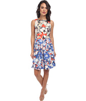 Donna Morgan - Sleeveless Twill Floral Fit and Flare Dress