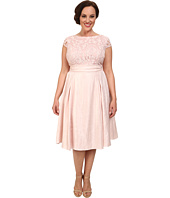 Adrianna Papell - Plus Size Shimmer Side Panel Tuck Lace Bodice Dress