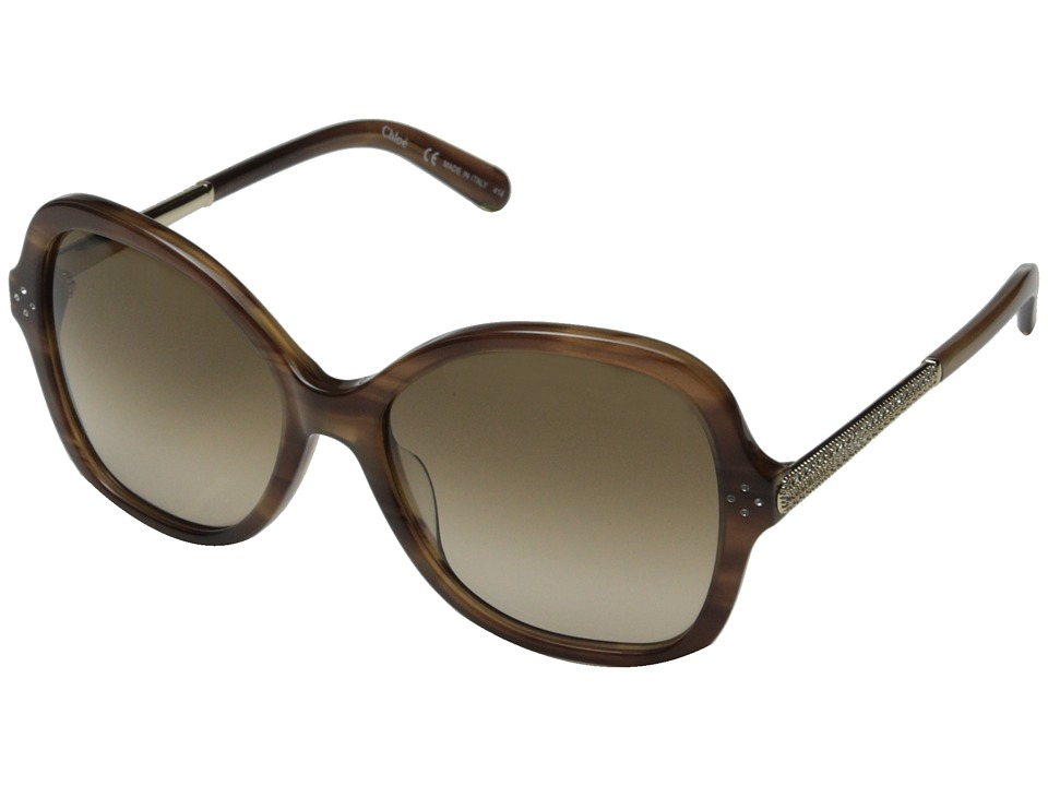 Chloe Boxwood Striped Brown Fashion Sunglasses
