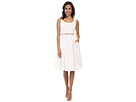 Donna Morgan Sleeveless Scoop Neck Eyelet Dior Length (White)