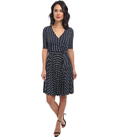Donna Morgan - Elbow Sleeve Mock Wrap Dress