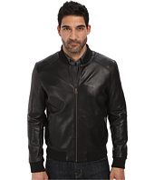 Cole Haan - Bonded Leather Varsity Jacket with Raw Edges