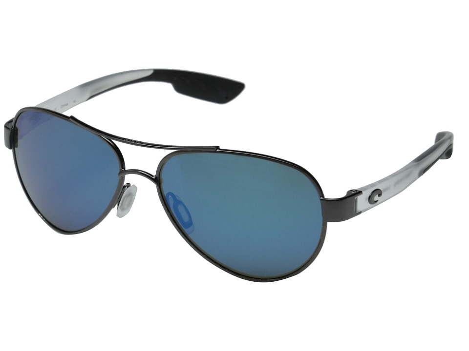 Costa Costa Loreto 580 Mirror Glass Gunmetal/Crystal Temples/Blue Mirror 580 Glass Lens Fashion Sunglasses