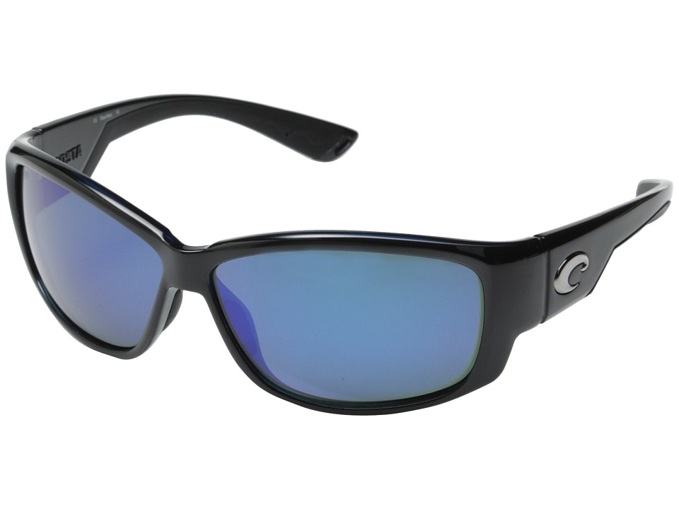 Costa Costa Luke 580 Mirror Glass Shiny Black/Blue Mirror 580 Glass Lens Fashion Sunglasses