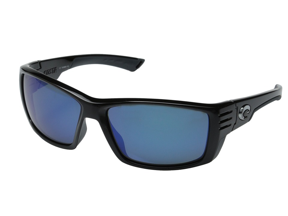 Costa Costa Cortez 580 Mirror Glass Shiny Black/Blue Mirror 580 Glass Lens Fashion Sunglasses